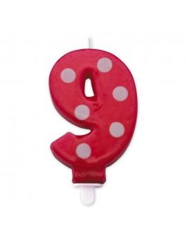 Candelina Pois Rossa Numero 9
