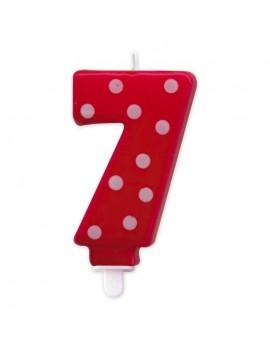 Candelina Pois Rossa Numero 7