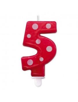 Candelina Pois Rossa Numero 5