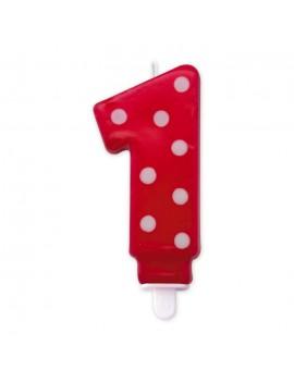 Candelina Pois Rossa Numero 1