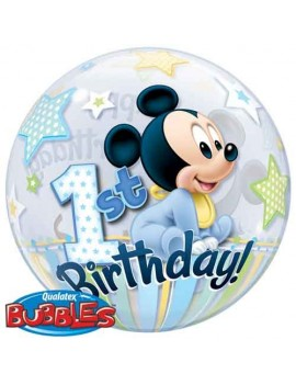 Palloncino Bubble Mickey Mouse 1° Compleanno