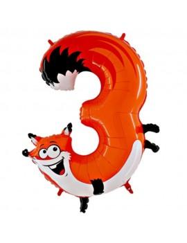 Animaloons Volpe Numero 3 (100cm)