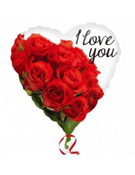 Palloncino Cuore I Love You con Rose