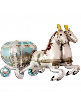 Palloncino 4D Carrozza con Cavalli