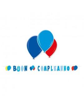 Festone Celeste Buon Compleanno Palloncini