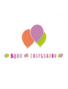 Festone Rosa Buon Compleanno Palloncini