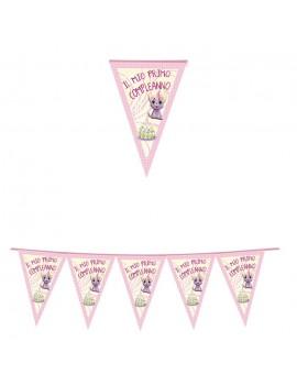 Festone Bandierina Gattina 1 Compleanno Rosa