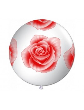 "Palloncino in Lattice 22"" Con Rosa Rossa"