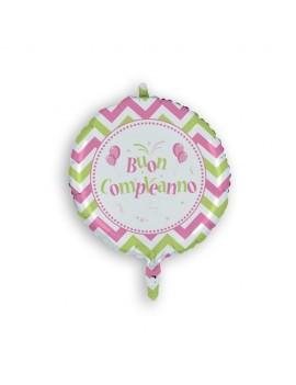 Palloncino Tondo Buon Compleanno Rosa