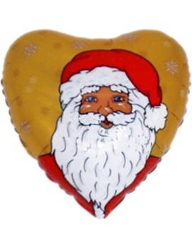 Palloncino Cuore Babbo Natale Oro