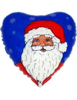 Palloncino Cuore Babbo Natale Blu