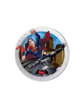 Piattini di Carta Batman e Superman 20 cm (8 pz)