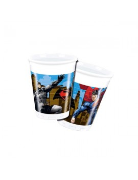 Bicchieri di Plastica Batman e Superman da 200 ml (8 pz)