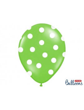 "Palloncini 14"" Verde Mela a Pois Bianchi"