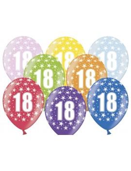"""Palloncini 14"""" Multicolor Numero 18"""