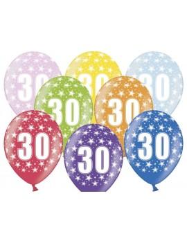 """Palloncini 14"""" Multicolor Numero 30"""