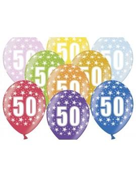 """Palloncini 14"""" Multicolor Numero 50"""