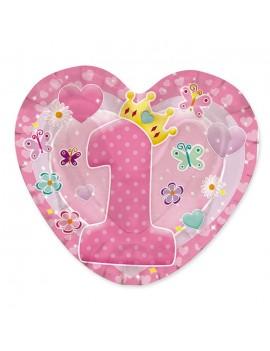 Piatti Cuore Rosa Primo Compleanno (10 pz)