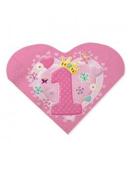 Tovaglioli Rosa Cuore Primo Compleanno (20 pz)