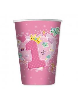 Bicchieri Rosa Primo Compleanno da 200 ml (10 pz)