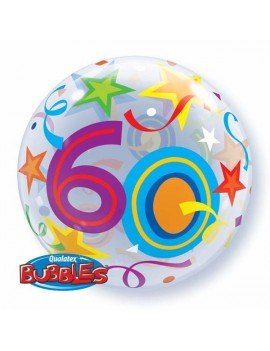 """Palloncino Mylar Bubble 60 Anni da 22"""""""