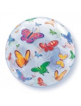 "Palloncino Mylar Bubble Con Farfalle da 22"""