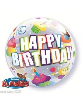 "Palloncino Mylar Bubble Happy Birthday Cupcake da 22"""