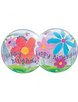 Palloncino Mylar Bubble Happy Birthday con Fiori da 22""