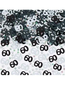 Confetti Decorativi Numero 60 Nero e Argento
