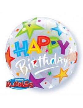"Palloncino Mylar Bubble Happy Birthday Stelle da 22"""