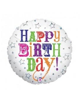 "Palloncino Mylar Happy Birthday Bianco 18"""