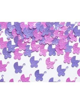 Confetti Decorativi Carrozzina Rosa e Lilla