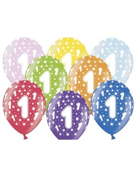 """Palloncini 14"""" Multicolor Numero 1"""