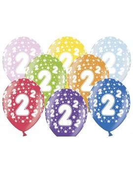 """Palloncini 14"""" Multicolor Numero 2"""