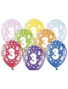 """Palloncini 14"""" Multicolor Numero 3"""