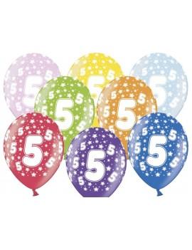 """Palloncini 14"""" Multicolor Numero 5"""