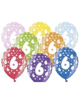 """Palloncini 14"""" Multicolor Numero 6"""