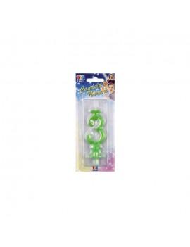 Candelina Verde Fluo Numero 3