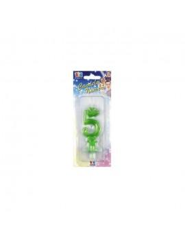 Candelina Verde Fluo Numero 5
