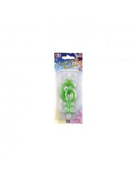Candelina Verde Fluo Numero 6