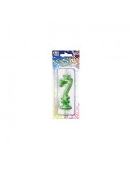 Candelina Verde Fluo Numero 7