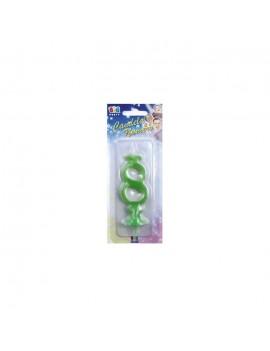 Candelina Verde Fluo Numero 8