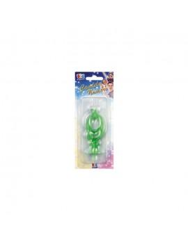 Candelina Verde Fluo Numero 9