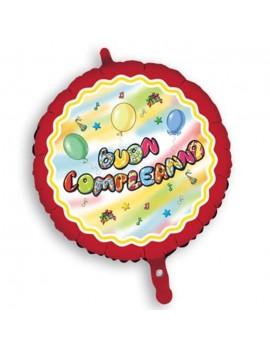 Palloncino Tondo Buon Compleanno Rosso