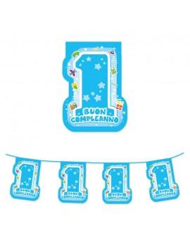 Festone Bandierine in Plastica 1° Compleanno Celeste