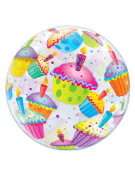 "Palloncino Mylar Bubble con Cupcake da 22"""