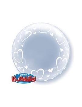 """Palloncino Mylar Bubble Trasparente con Cuori da 24"""""""