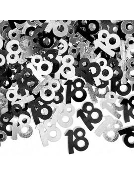 Confetti Decorativi Numero 18 Nero e Argento