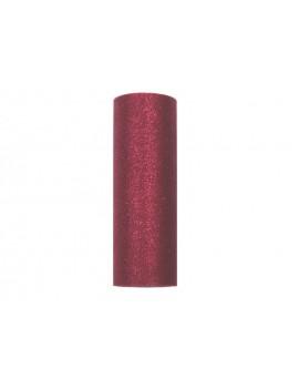 Tulle Glitterato 15 cm x 9m colore Bordeaux