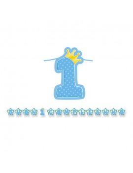 Festone Celeste Buon Primo Compleanno